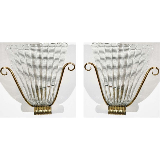 1950s Brass and Rippled Murano Glass Wall Sconces - a Pair For Sale - Image 10 of 10