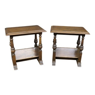 Traditional Oak Nightstands/Pair For Sale