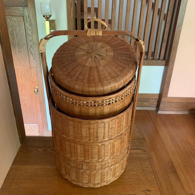 Vintage large Japanese wedding basket with 4 compartments. 28.5'' tall 15.5'' wide