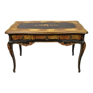Contemporary French Tuscan Style Shabby Floral Chic Hand Painted Writing Desk For Sale