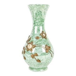 Antique French Art Glass Floral Design Vase For Sale