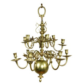 Dutch Baroque Brass Twelve Light Chandelier For Sale