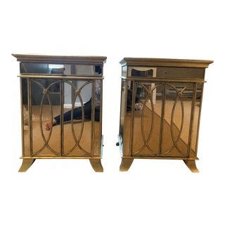 Transitional Mirrored Nightstands - A Pair For Sale