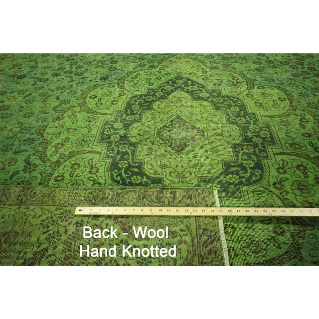 "Lime Green Overdyed Tabriz Area Rug - 9'5"" x 12' - Image 7 of 10"