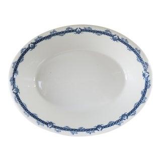 Antique Ironstone Flow Blue Transferware Restuarant Serving Bowl For Sale