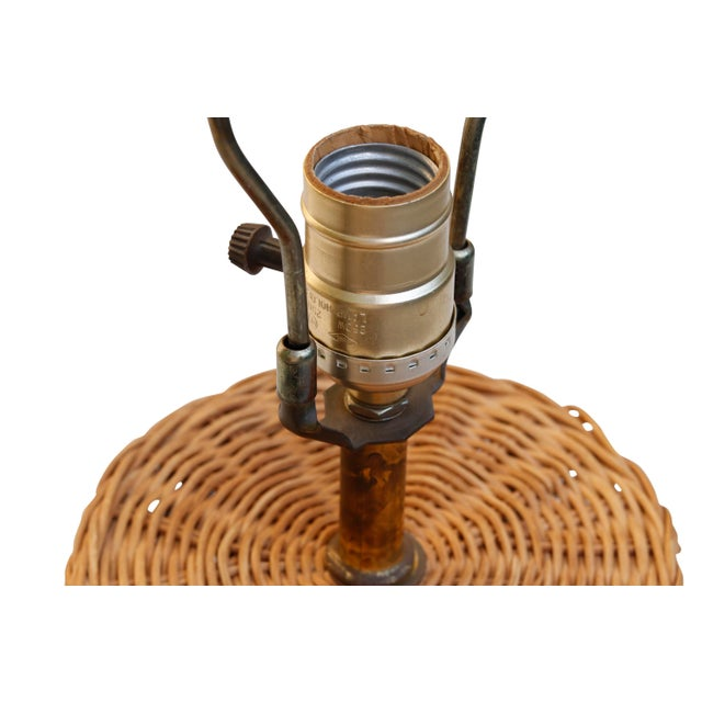 Mid 20th Century Vintage Wicker Table Lamp For Sale - Image 5 of 6