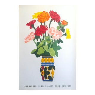 John Lander Vintage 1980's Contemporary Lithograph Print Soho Nyc Exhibition Poster