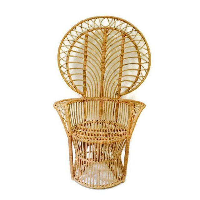 1960s Mid Century Franco Albini Style Peacock Chair Bent Bamboo Fan Back Chair For Sale - Image 5 of 11