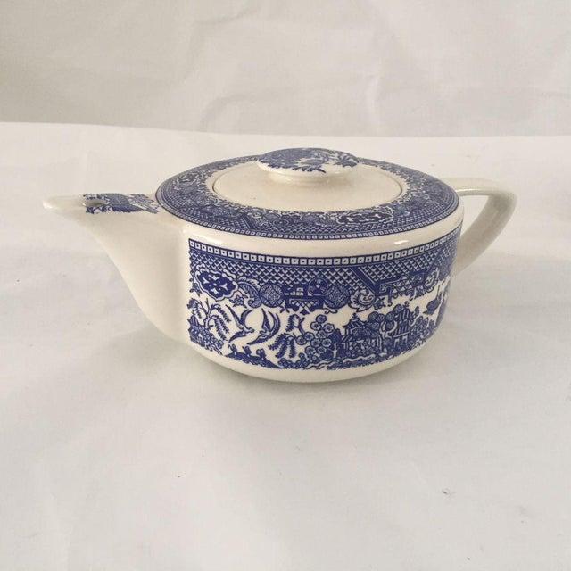 Vintage Blue Willow Teapot, Sugar & Creamer - Set of 3 For Sale - Image 4 of 6
