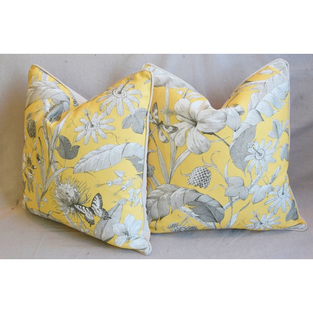 """Designer English Floral & Nature Linen/Velvet Feather & Down Pillows 24"""" Square - Pair For Sale - Image 10 of 13"""