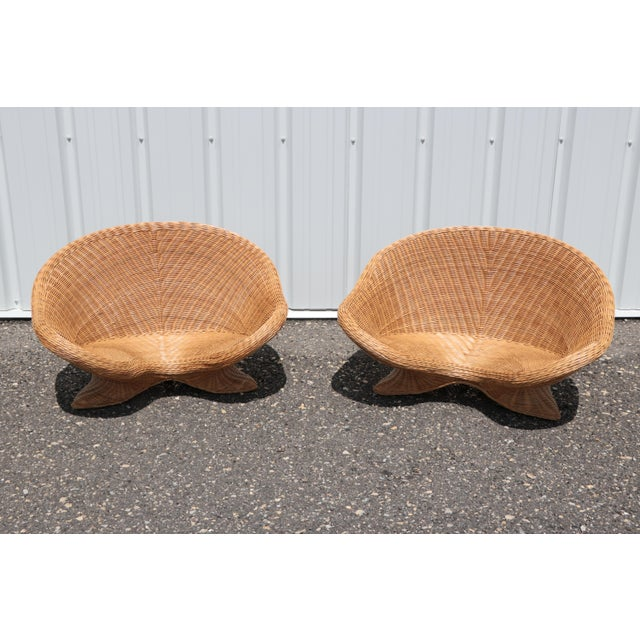 Wicker Low Lounge Chairs - a Pair For Sale - Image 4 of 13