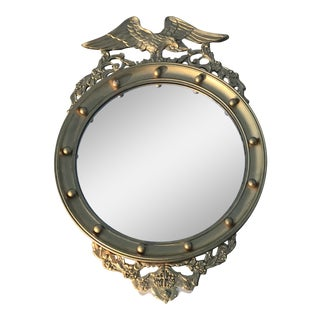 20th Century Federal Eagle Wood & Gesso Gilded Convex Mirror For Sale