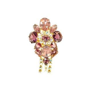 Amethyst & Lavender Crystal Brooch, 1960s For Sale