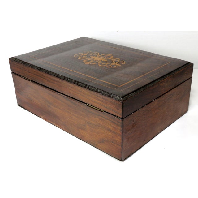 Boxwood Late 19th Century Antique Rosewood Sewing Box For Sale - Image 7 of 10