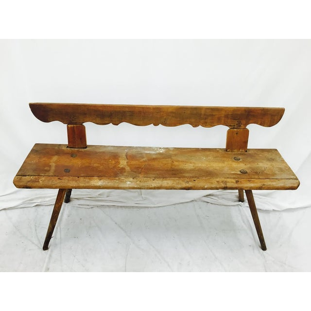 Antique Wooden Farm Bench - Image 6 of 10