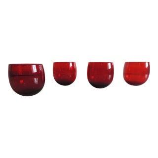 Set of Four Cranberry Vintage Tumbler Glasses For Sale