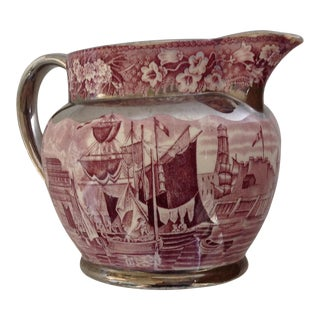 Antique Staffordshire Transferware Mulbery Lustre Pitcher For Sale
