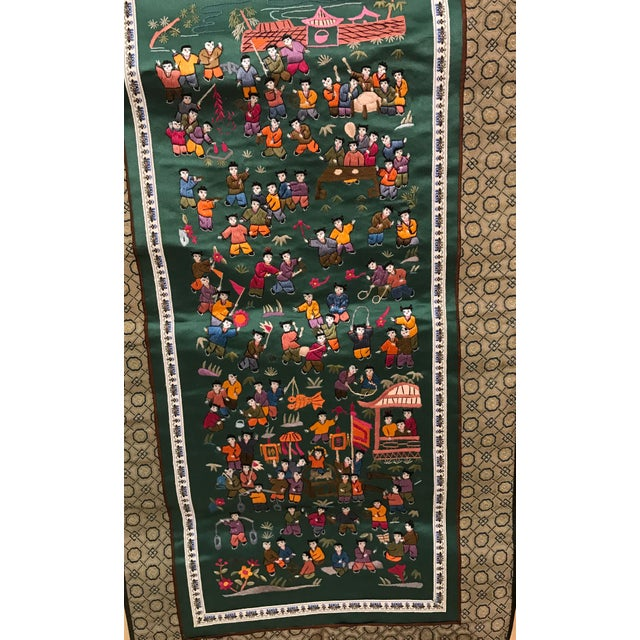 Vintage Chinese Embroidered Wall Hanging For Sale - Image 4 of 8