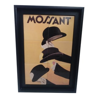 1938 Vintage Mossant Hats Advertising Ceramic Tile by Leonetto Cappiello For Sale