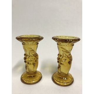 "Amber Glass Fenton ""Hand Holding Torch"" Taper Candle Holders - a Pair Preview"