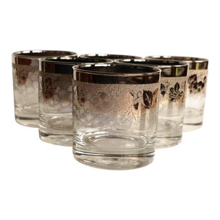 Grapevine Silver Fade Lowball Glasses - Set of 6 For Sale