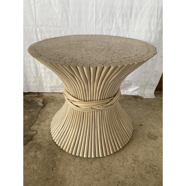 1980s Vintage Rattan Sheaf of Wheat Side Table For Sale - Image 11 of 11