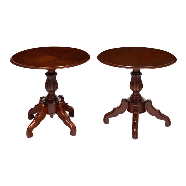 French Antique Faux Pair of Louis Philippe Side Tables For Sale