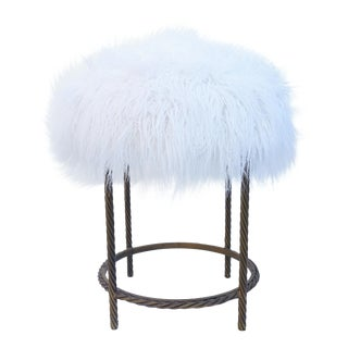Vintage Italian Gold Gilt Iron Rope & Faux Fur Stool For Sale