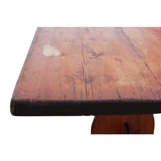 Antique Country Pine Farm Table For Sale - Image 10 of 13