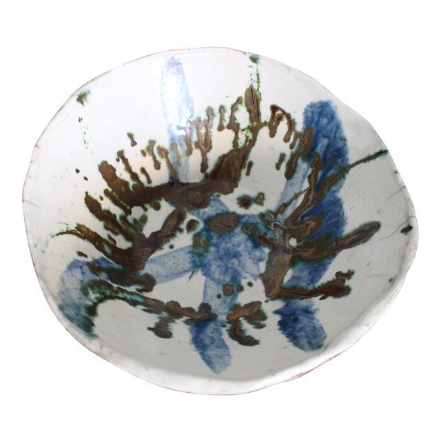 Vintage Handmade Hand Glazed Studio Art Black Clay Pottery Bowl For Sale