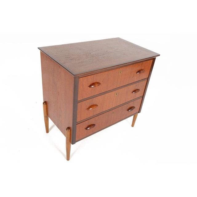 Danish Modern Three-Drawer Teak and Oak Chest - Image 5 of 9