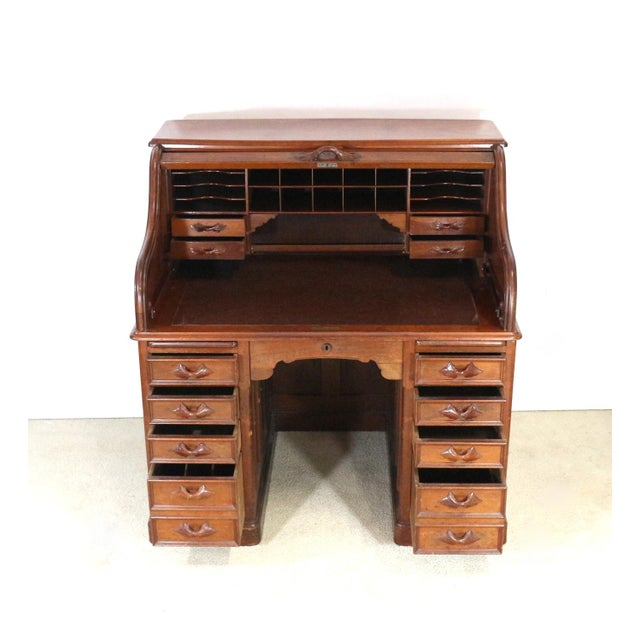 1850s Antique Walnut Bankers Desk - Image 4 of 11