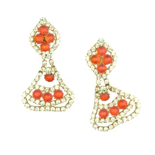 1960s Frosted Orange Rhinestone Drop Earrings For Sale