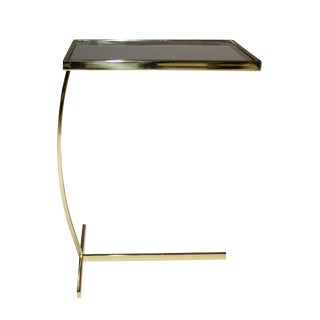 1970s Vintage Cantilevered Brass and Glass Side Table For Sale