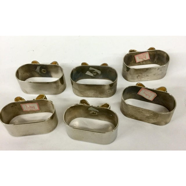 Silver Plate & Gold-Tone Napkin Rings - Set of 6 For Sale - Image 5 of 11