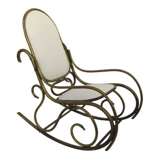 1900s Thonet Style Brass Tubular Rocking Chair For Sale