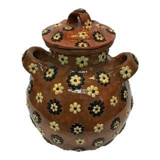 Glazed Terra Cotta Mexican Kitchen Jar