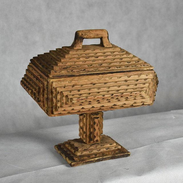 Late 19th Century Antique Hand Carved Wood Tramp Art Keepsake Box With Lid on Stand For Sale - Image 5 of 8