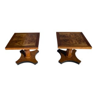 Pair of Highly Figured Bookmatched Walnut Side Tables Signed Baker Furniture For Sale