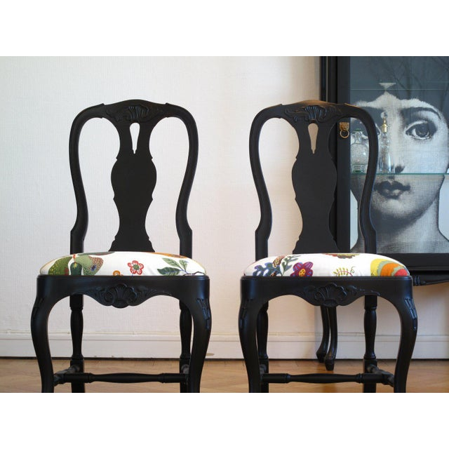 1970s Svenskt Tenn Rococo Chairs With Josef Frank Fabric - a Pair For Sale - Image 5 of 6