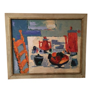 Edward Goldman 1950s Still Life at Table Oil Painting