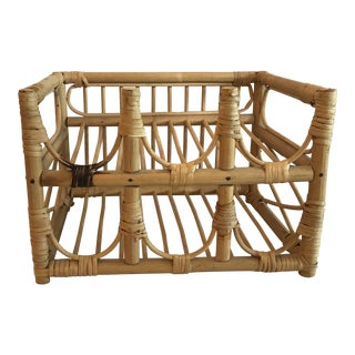 20th Century Boho Chic Cane Wine Bottle Rack For Sale
