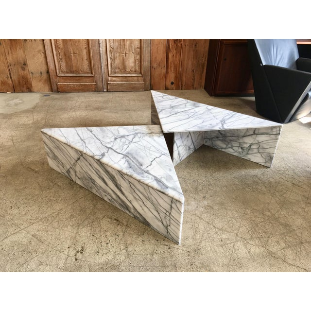 Wood And Metal Multi Level Coffee Table.Modernist Multi Level Italian Marble Coffee Table