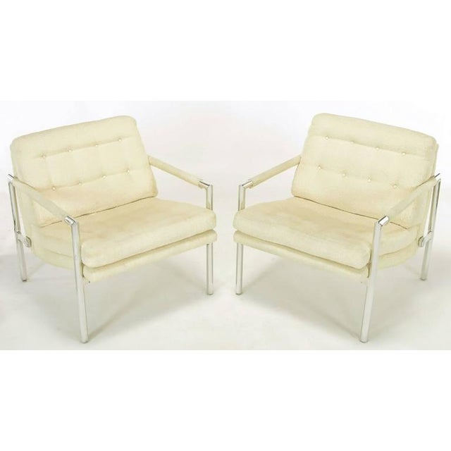 Pair of Polished Aluminum & Linen Lounge Chairs in the Manner of Harvey Probber - Image 3 of 9