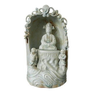 Chinoiserie Celadon With Lord Buddha For Sale