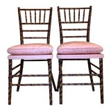 Image of Antique Faux Tortoise Bamboo Ballroom Chairs - a Pair For Sale