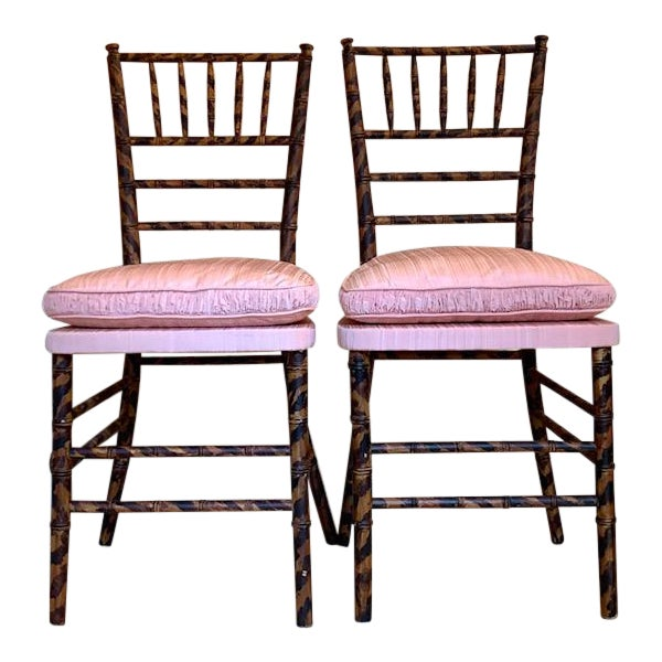 Antique Faux Tortoise Bamboo Ballroom Chairs - a Pair For Sale