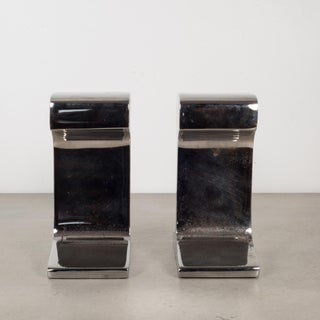 Mid-Century Chromed Steel Railroad Tie Bookends C.1960 Preview