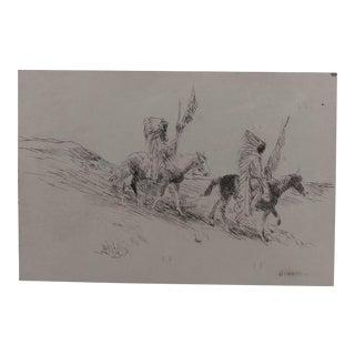 Edward Borein - Two Indian in Full Headdress on Horseback -Print