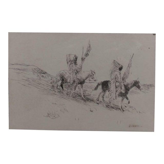 Edward Borein - Two Indian in Full Headdress on Horseback -Print For Sale